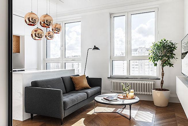 Минималистичный интерьер квартиры площадью 34 квадратных метра