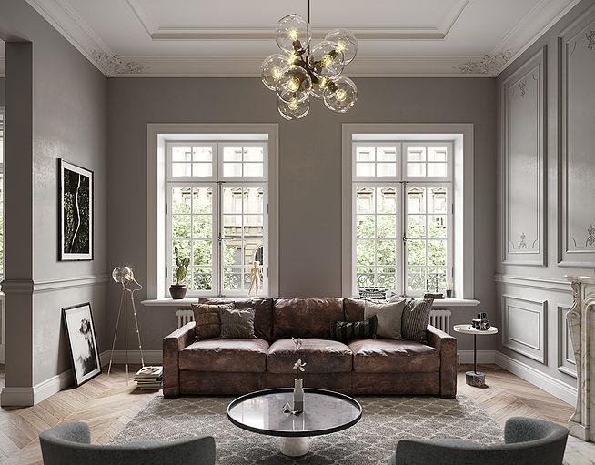 Современный интерьер в особняке с лепниной и камином