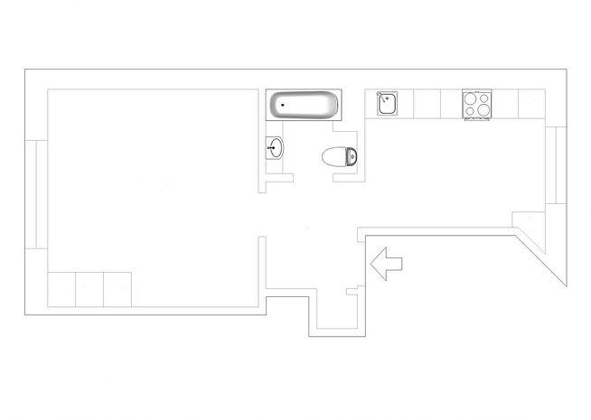 Яркий интерьер однокомнатной квартиры площадью 30 м кв