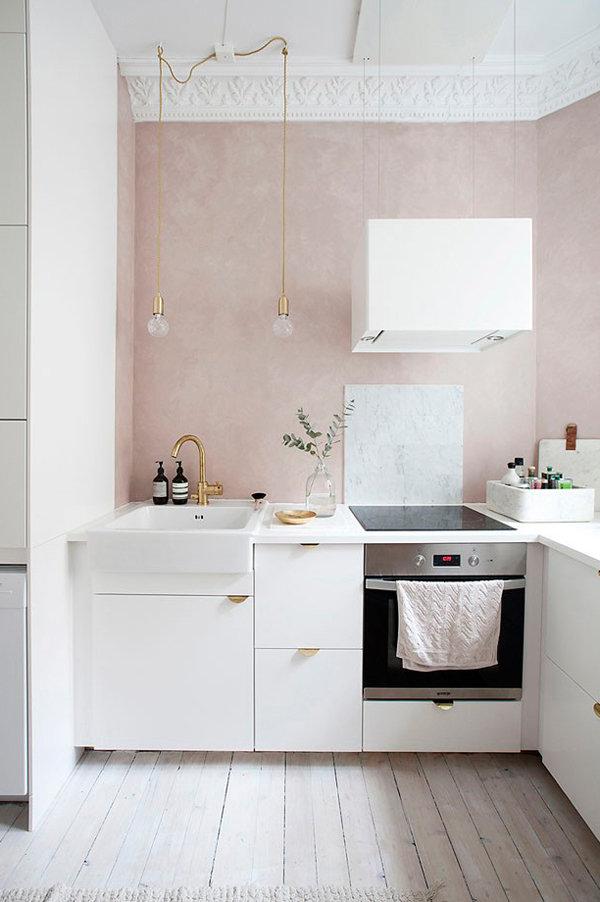 Скандинавский интерьер с розовыми акцентами