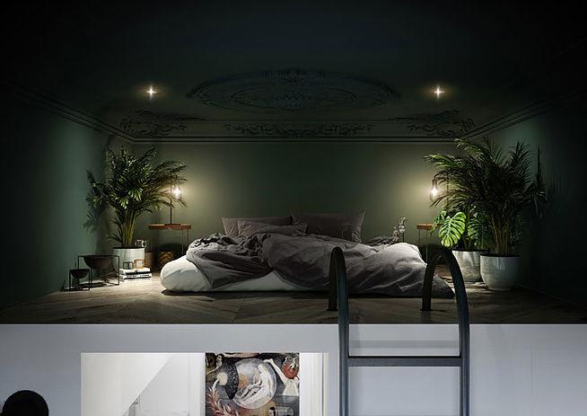 Роскошная квартира-студия с антресолью и зеленым потолком