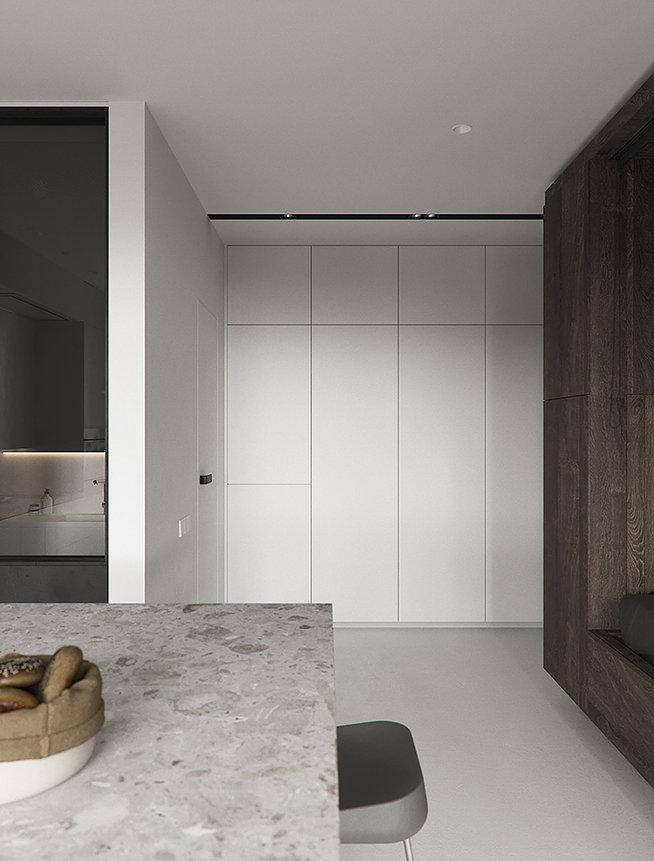 МИНИМАЛИЗМ: спальня, гостиная и кухня-столовая на 44 метрах
