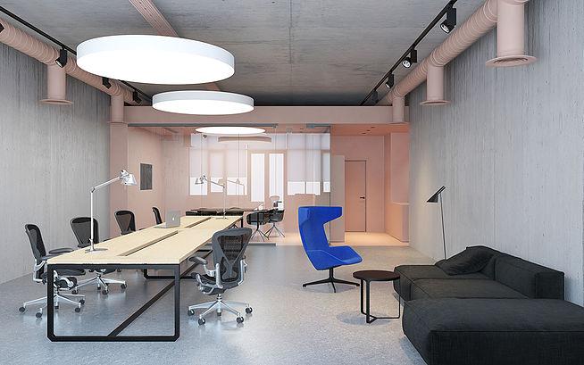 Минимализм, milenial pink и бетон в интерьере офиса площадью 88 кв.м.