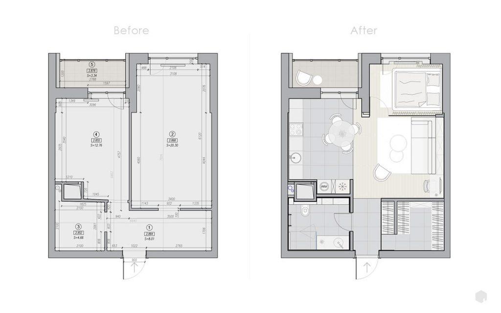 Современная функциональная планировка из типовой однокомнатной квартиры