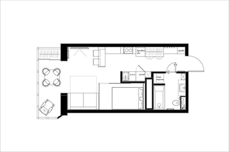 Стильный и функциональный интерьер квартиры студии площадью 30 кв м