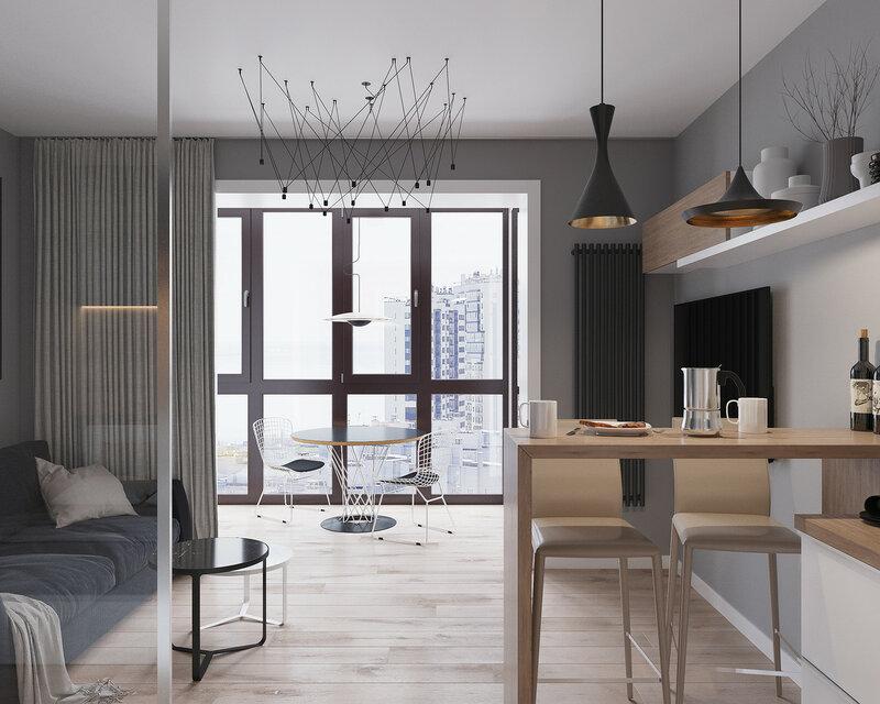 Стильный и функциональный интерьер квартиры площадью 30 кв м