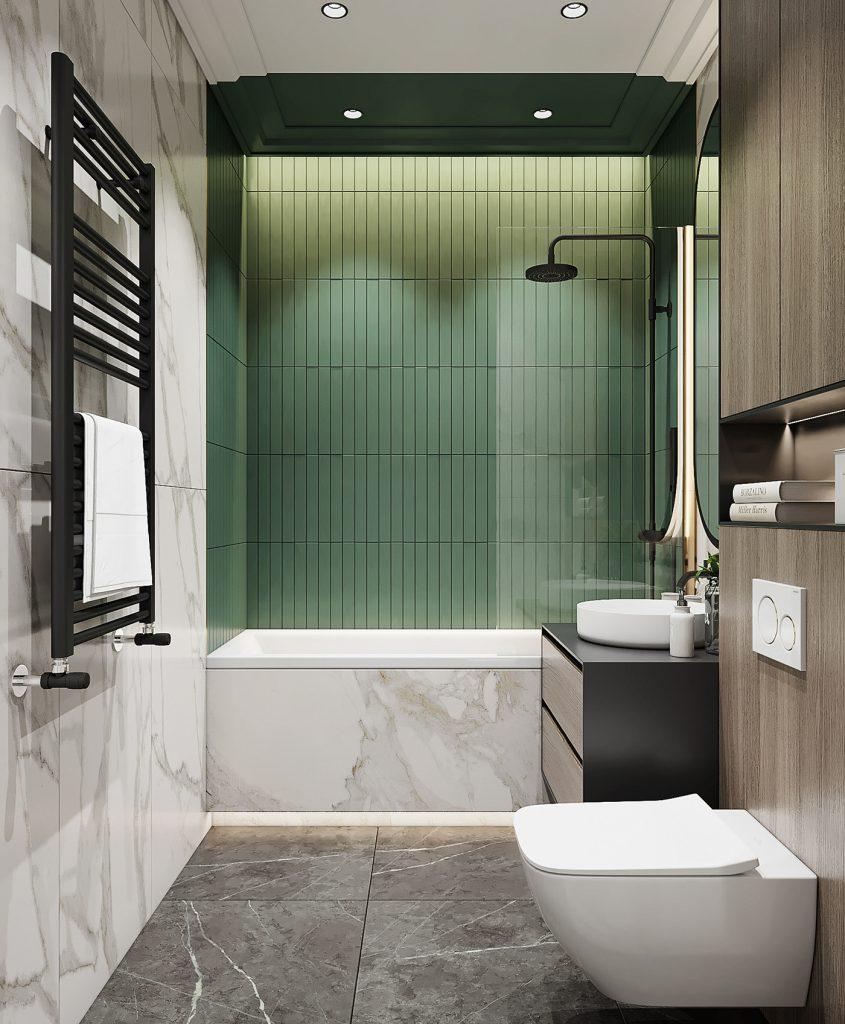 Ванная комната площадью 4,6 кв м