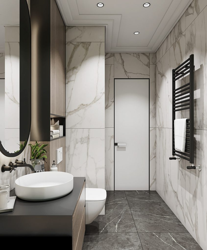 Функциональный дизайн: санузел с полноценной ванной площадью 4,6 кв м
