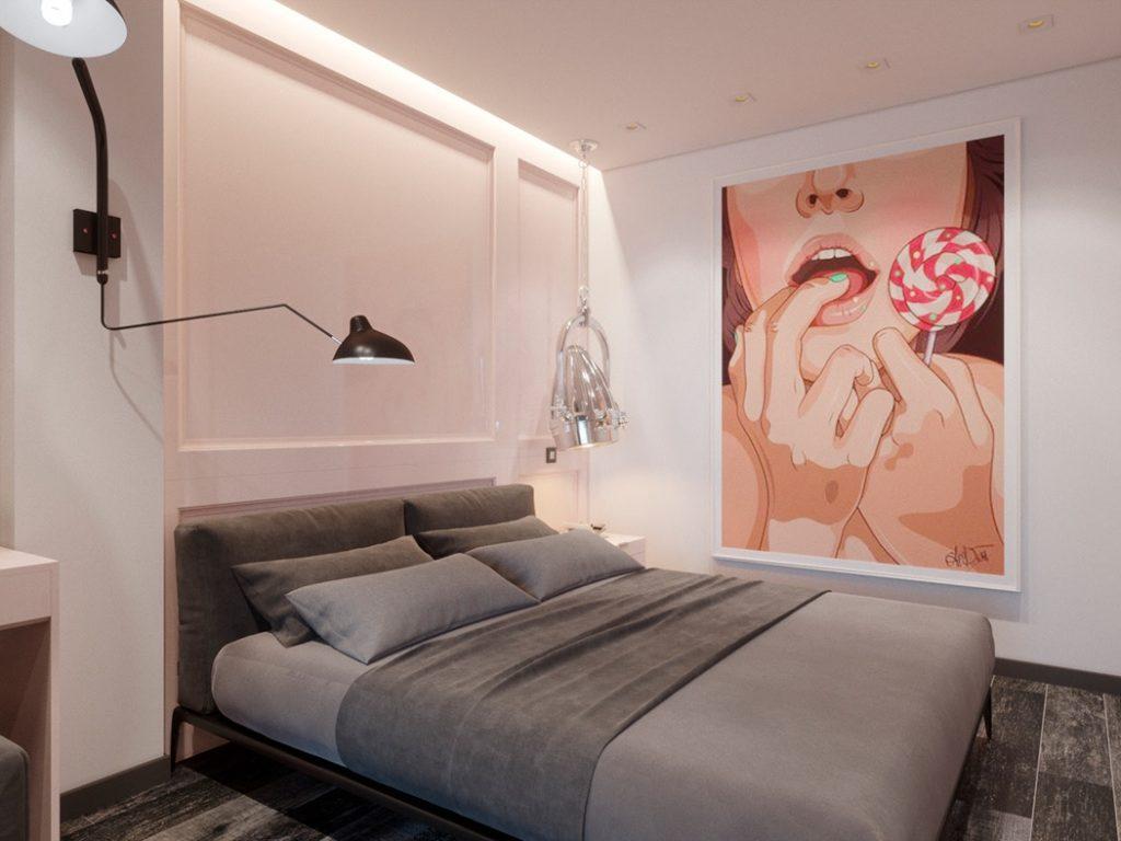 Брутальный мужской интерьер однокомнатной квартиры с розовой спальней