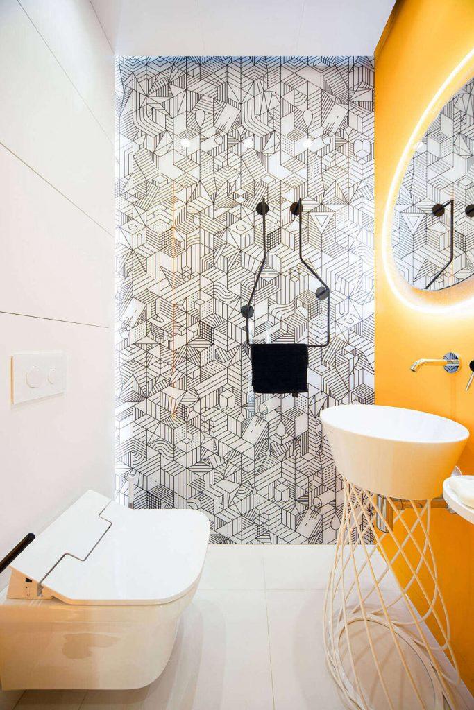 современный монохромный интерьер однокомнатной в стиле минимализм