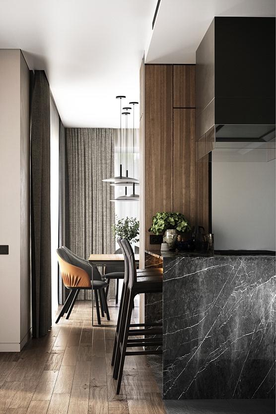 Современная роскошь: интерьер просторной квартиры в стиле минимализм