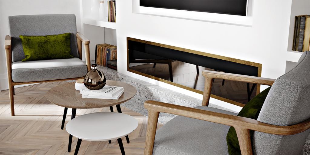 Гостиная двухкомнатной квартиры с винтажными акцентами