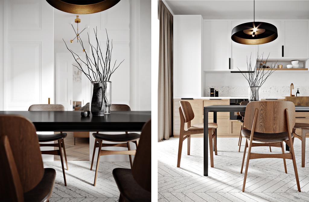 Кухня двухкомнатной квартиры с винтажными акцентами