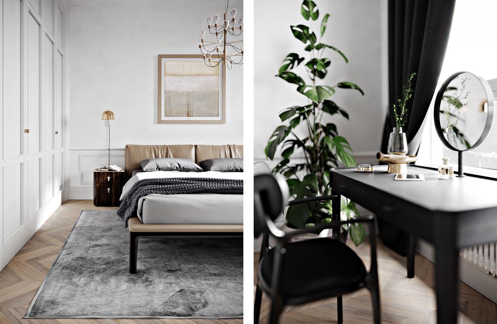 Современный изысканный интерьер двухкомнатной квартиры с винтажными акцентами