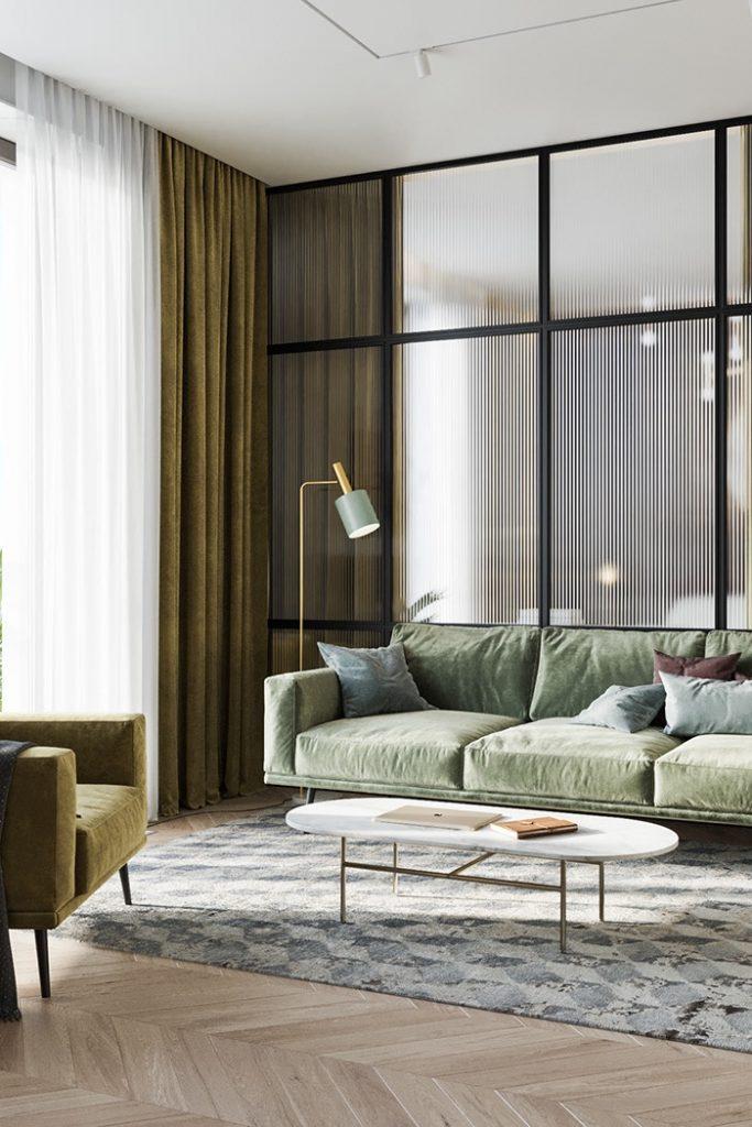Модный интерьер евродвушки со стеклянной перегородкой