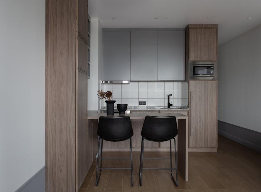 Простой, бюджетный интерьер квартиры-студии 31 кв м в стиле минимализм