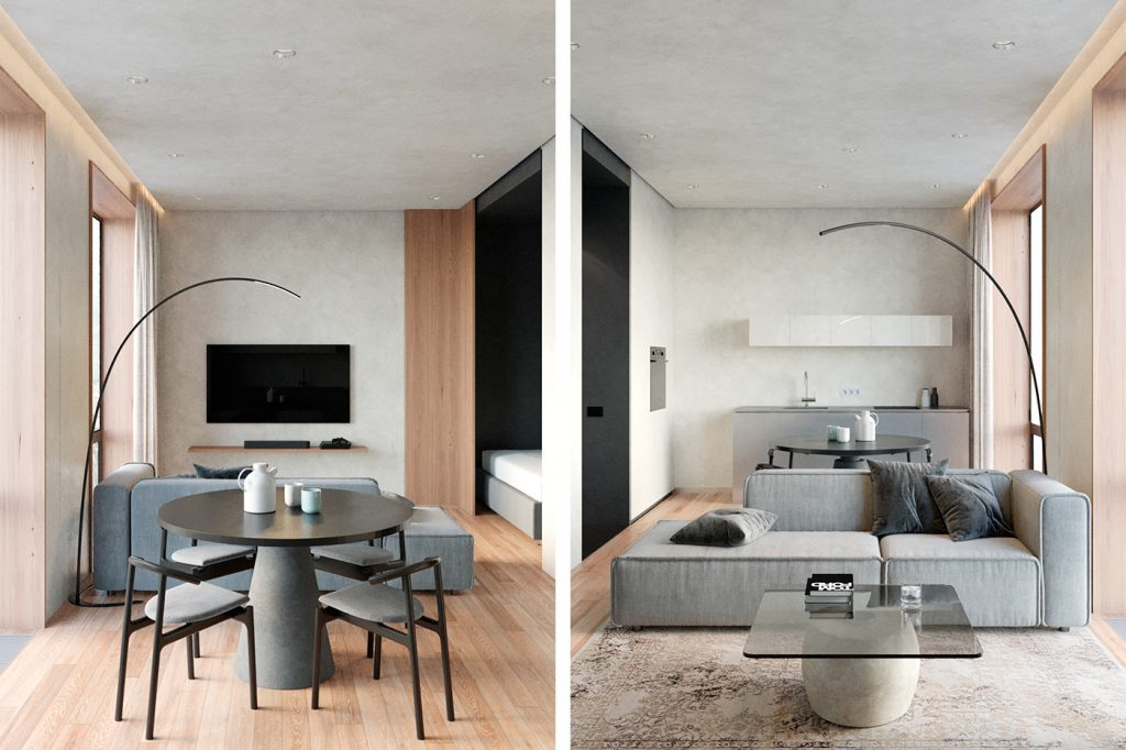 Простой и эффектный интерьер квартиры площадью 40 кв м в стиле минимализм