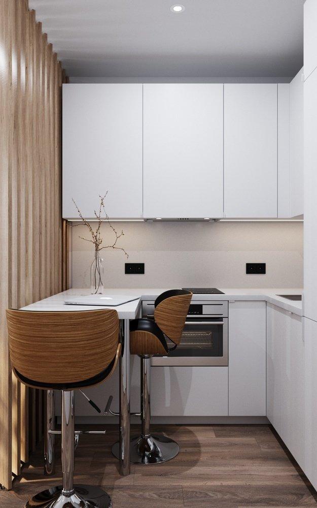Кухня студии площадью 23 кв м