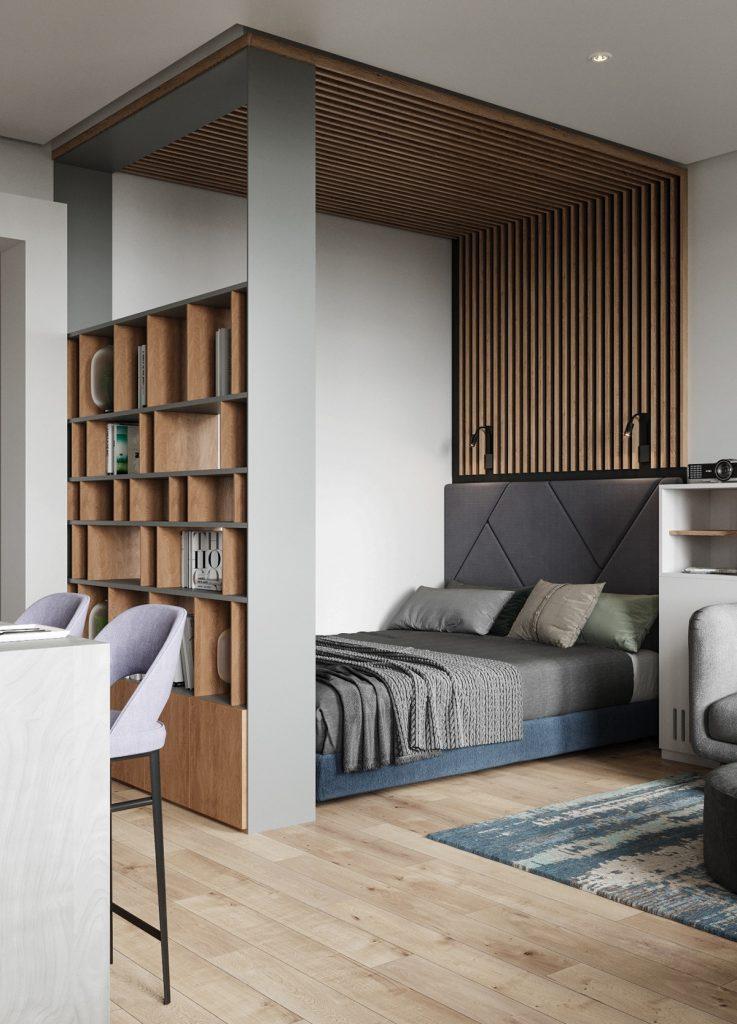 Современный интерьер квартиры площадью 38 кв м