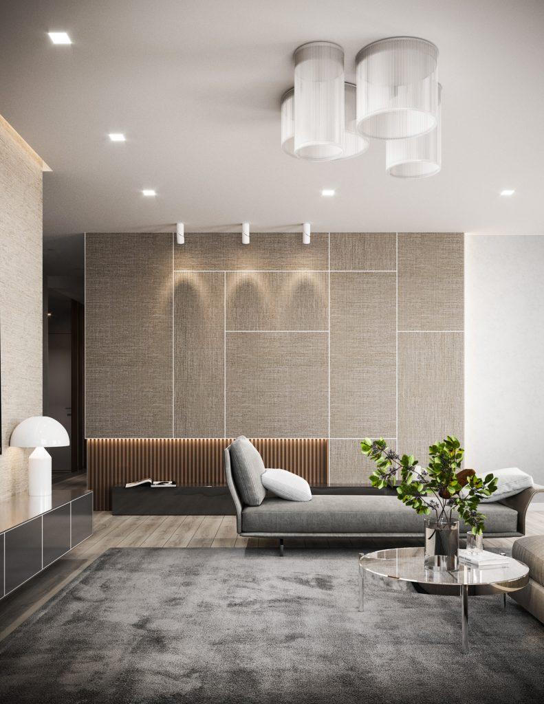 Современный интерьер квартиры с двумя спальнями в бежевых тонах