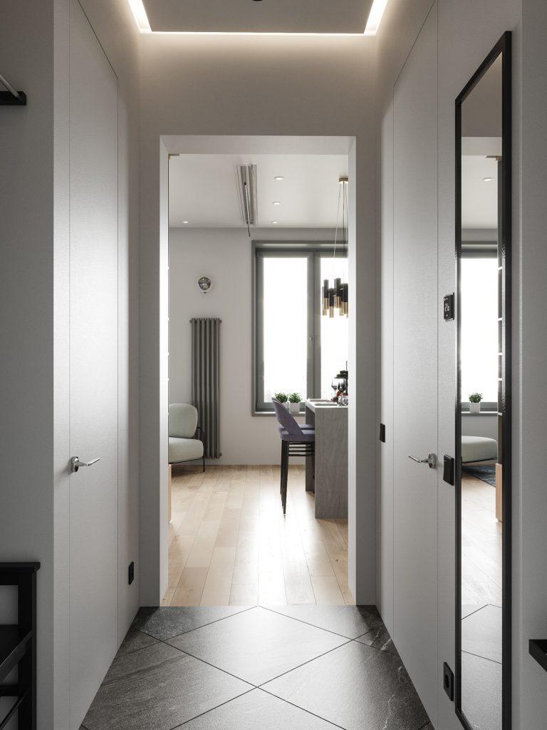 Современный интерьер квартиры площадью 38 кв м со свободной планировкой