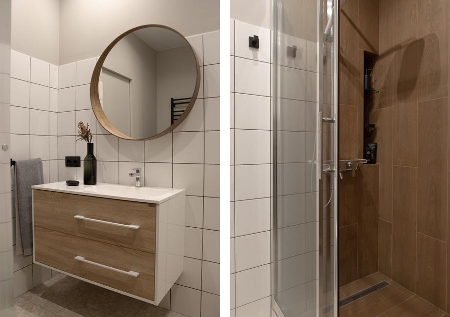 Санузел квартиры-студии 31 кв м в стиле минимализм