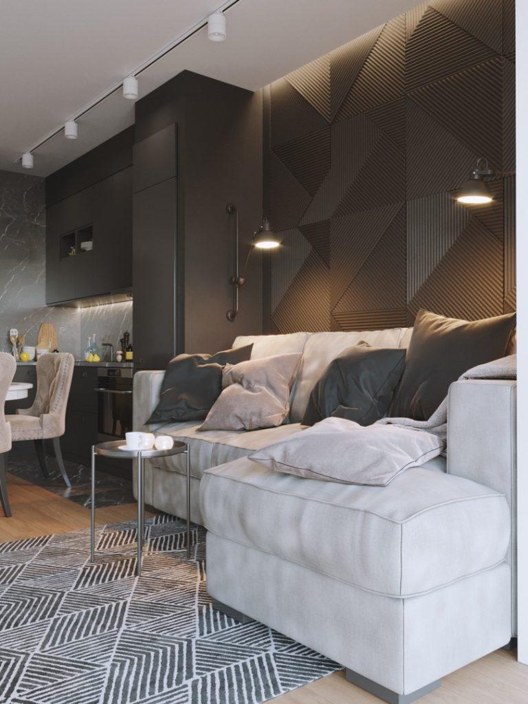 Готовое решение: стильный черно-белый интерьер студии с вытянутой планировкой
