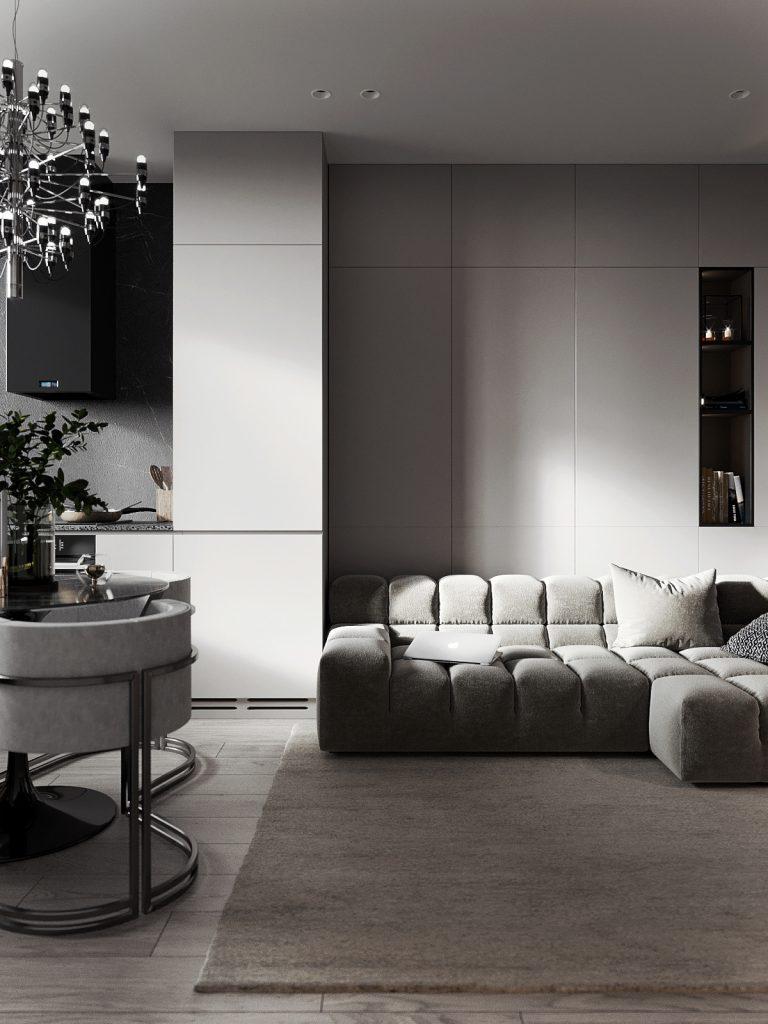Безупречный стиль: нарядный интерьер однокомнатной квартиры площадью 41 квадратный метр