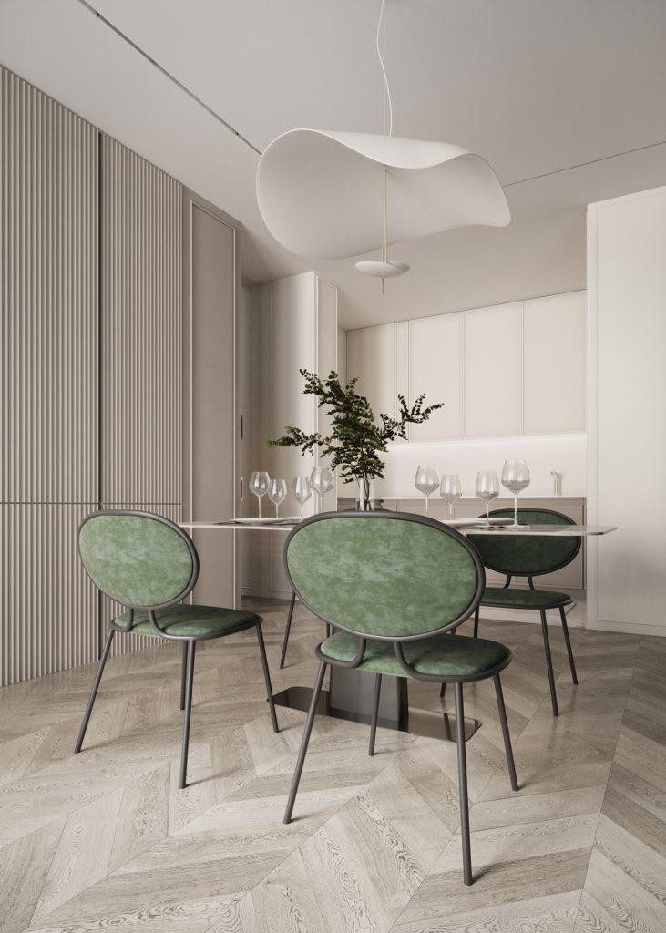 Цвет в интерьере: проект квартиры в молочных тонах с красивыми цветовыми акцентами