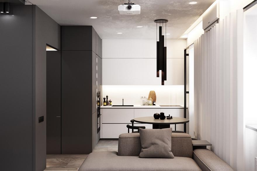 Черное и белое: стильный интерьер однушки площадью 33 м² в монохромной палитре
