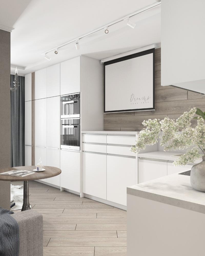 Личное пространство: проект квартиры-студии площадью 30 м², где спальня отделена перегородкой