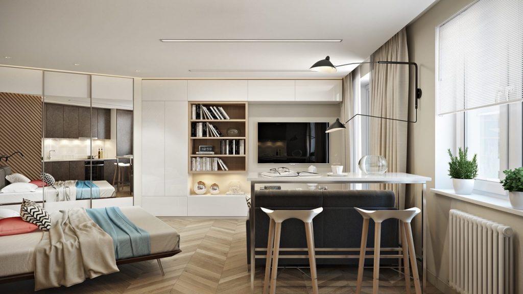 Свободное пространство: необычная перепланировка однушки площадью 38 м²