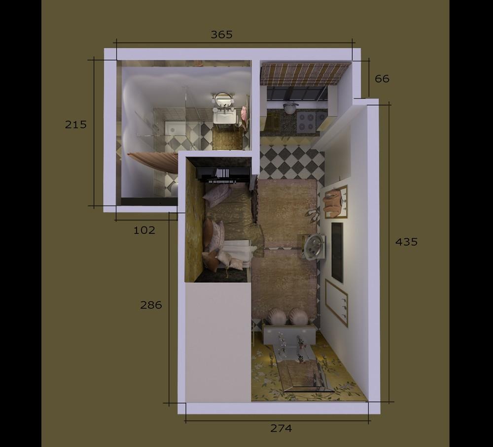 Восточный экспресс: маленькая квартира-студия площадью 15,5 м² с изысканным интерьером