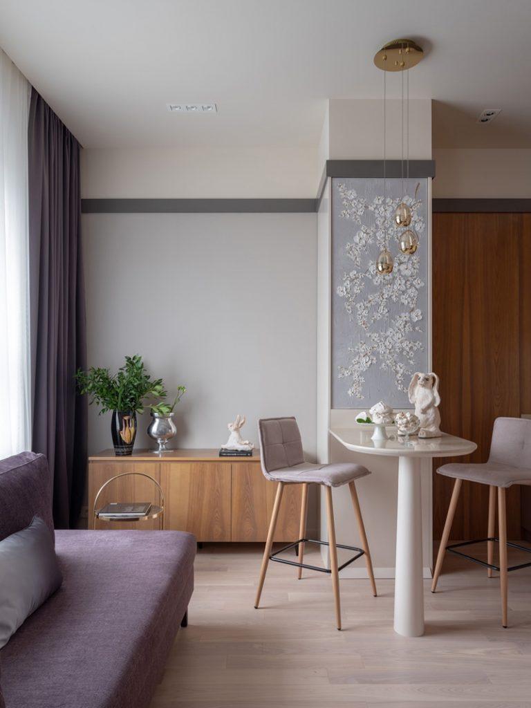 Розовая мечта: интерьер однокомнатной квартиры площадью 33 м² для девушки