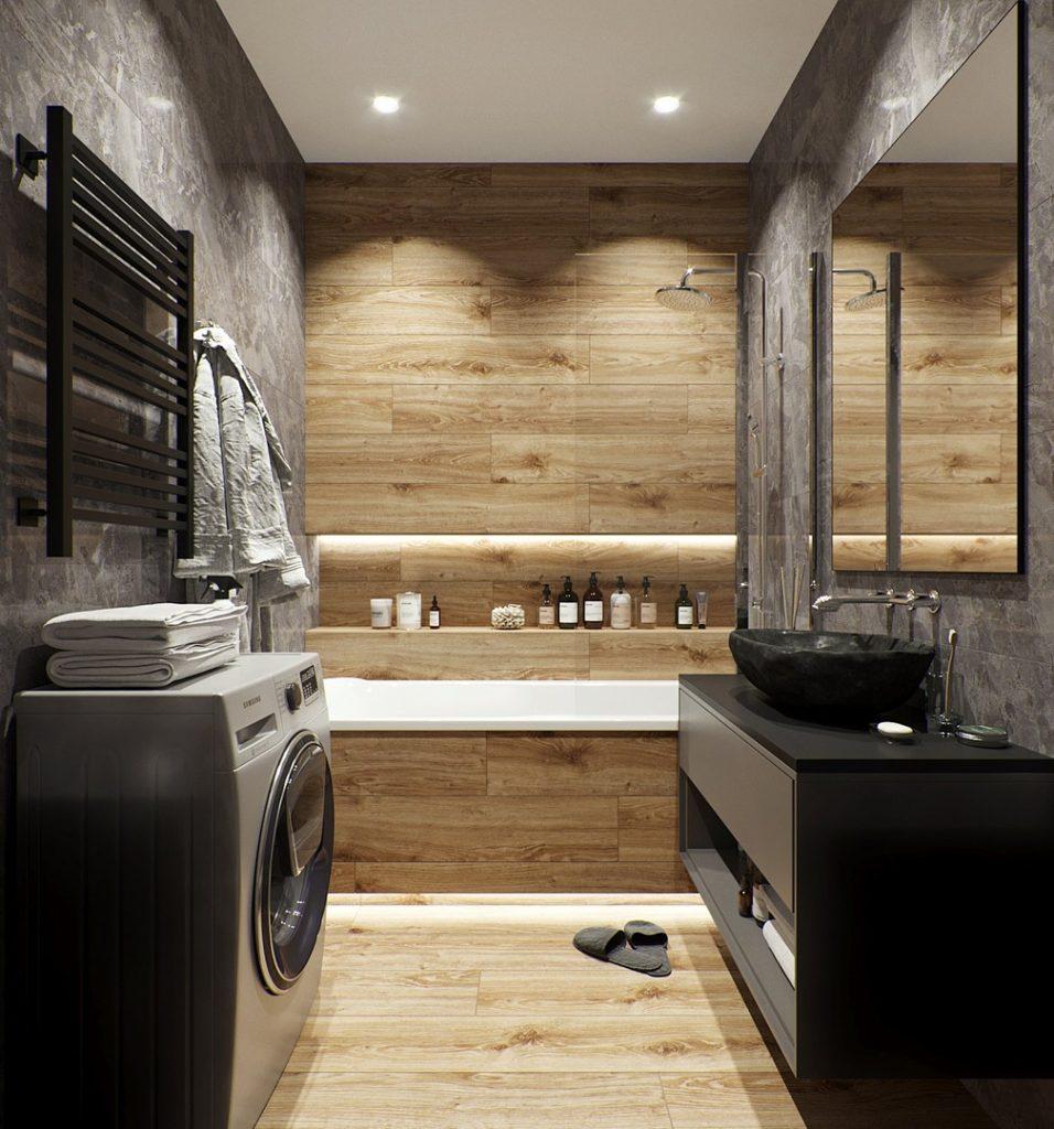 Кирпич и дерево: интерьер квартиры площадью 37 м² в стиле лофт
