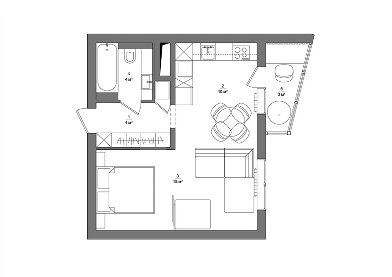 Черное и белое: однокомнатная квартира площадью 33 м² в монохромной палитре
