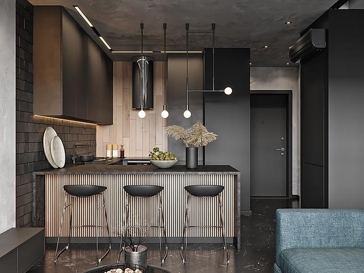 Имитация бетона: интерьер однушки в стиле лофт