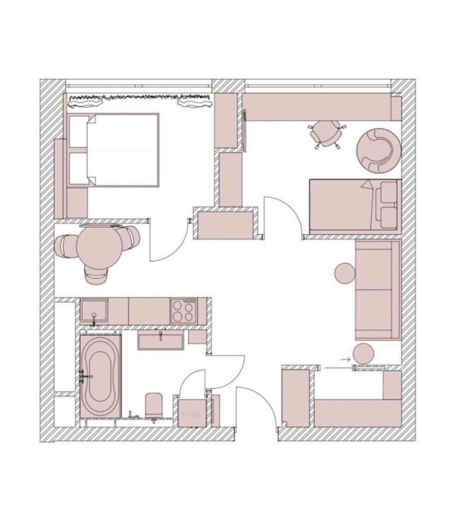 Вместить все: стильный и простой для повторения интерьер евротрешки площадью 44 м²