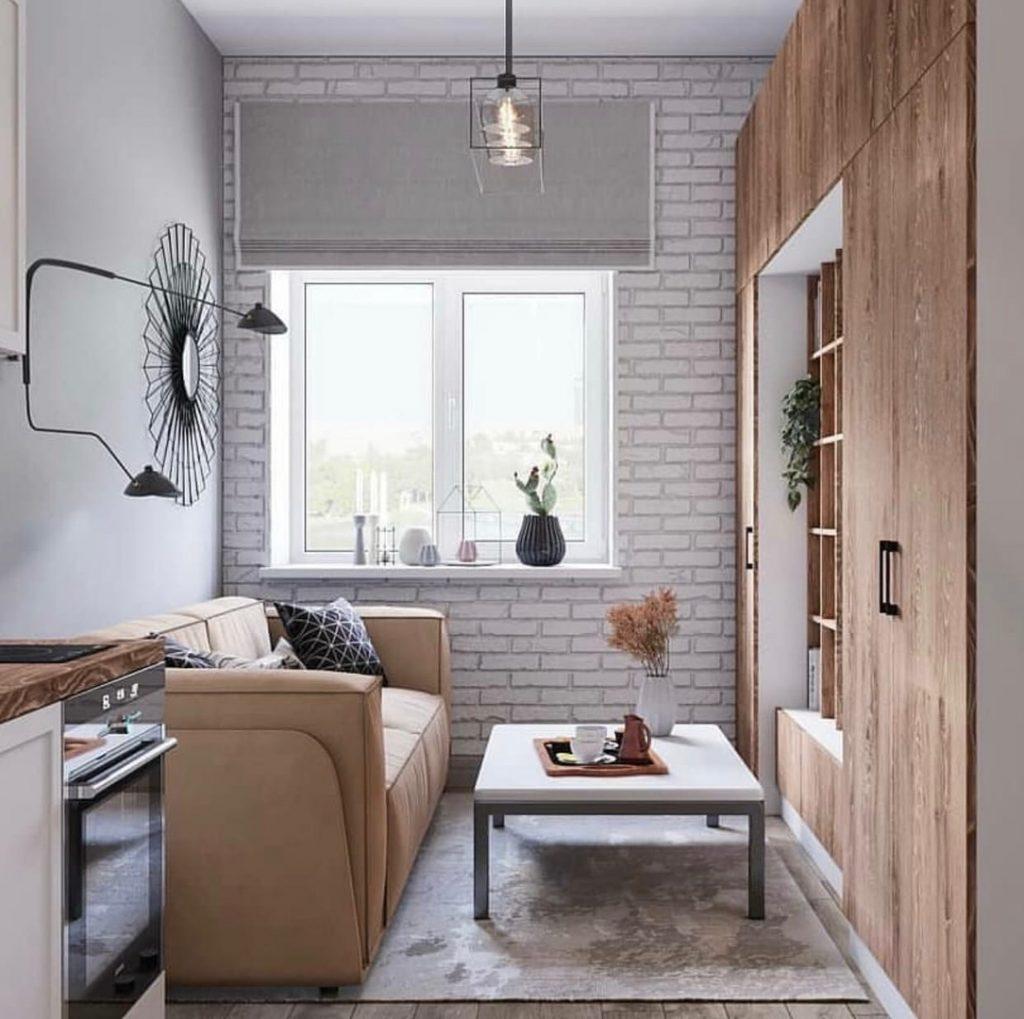 Стильный и простой интерьер квартиры-студии площадью 22 м² с элементами лофта