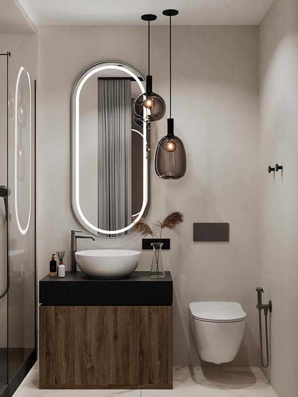Стекло и дерево: современный интерьер однокомнатной квартиры со стеклянными перегородками