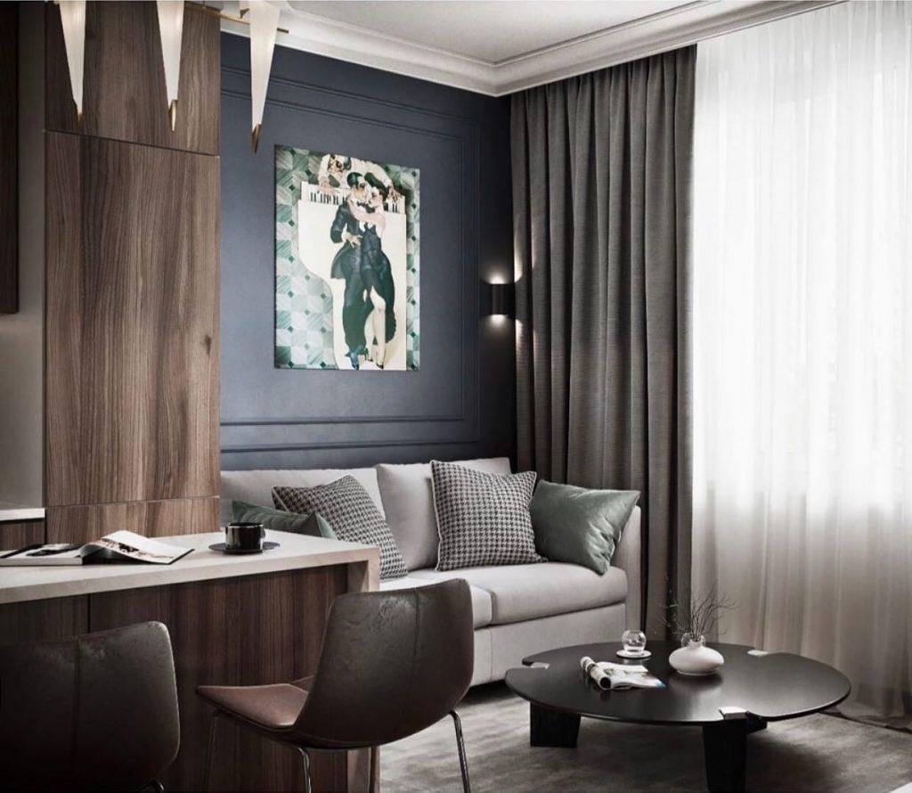 Эффектный дизайн: стильный дизайн-проект квартиры площадью 45 м²