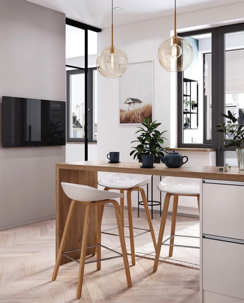 Современный, легкий и стильный интерьер однокомнатной квартиры площадью 36 м²