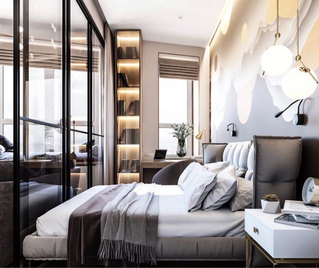 Дюны в спальне и джунгли в ванной: необычный интерьер апартаментов площадью 33 м²