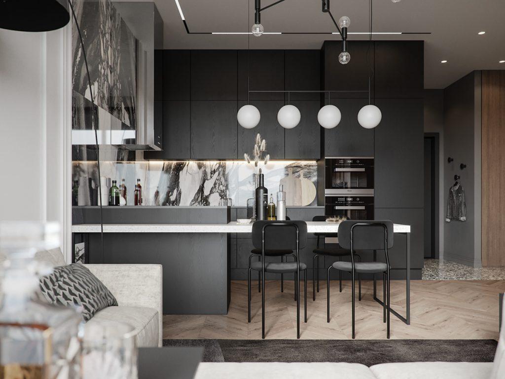 Произведение искусства: роскошный монохромный интерьер квартиры с одной спальней