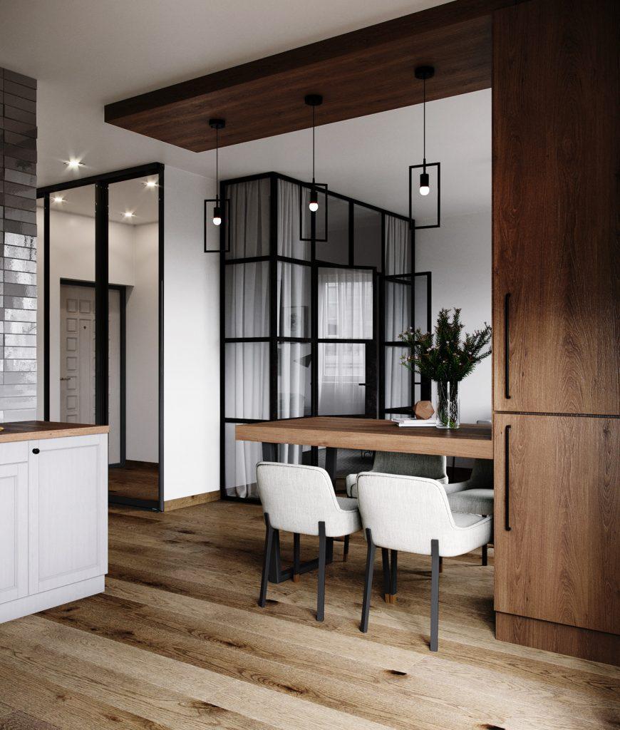 Совершенство линий: интерьер однокомнатной квартиры в стиле минимализм