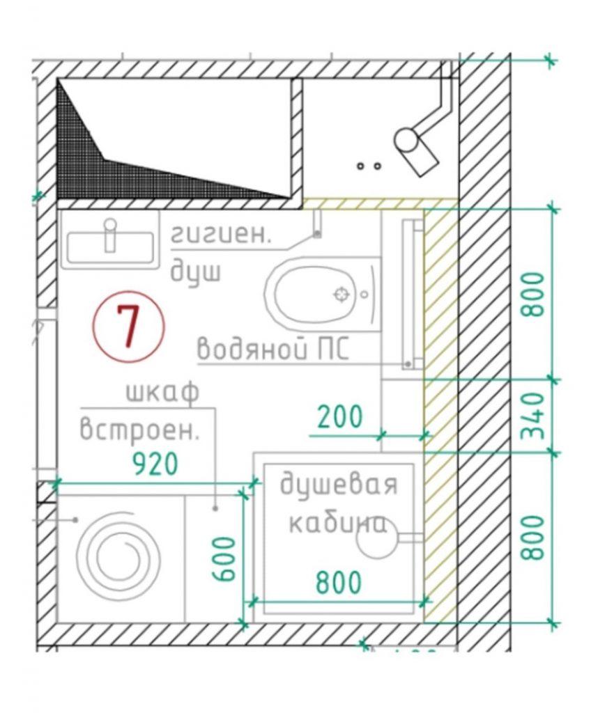 Продуманный интерьер санузла площадью 3,3 м²