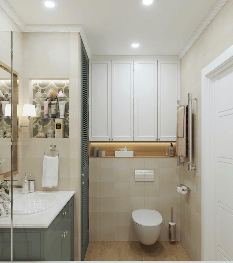 Элегантный интерьер однокомнатной квартиры площадью 47 м² в классическом стиле