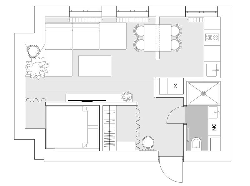Лофт с перегородкой из керамического блока в квартире площадью 32 м²