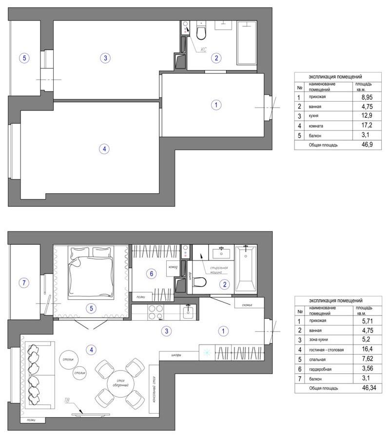 Мини-кухня, желтая дверь и фламинго в прихожей: яркий и необычный интерьер однокомнатной квартиры площадью 43 м²