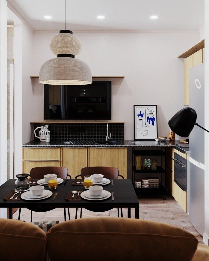 Пример зонирования в студии площадью 29 м² с вытянутой планировкой